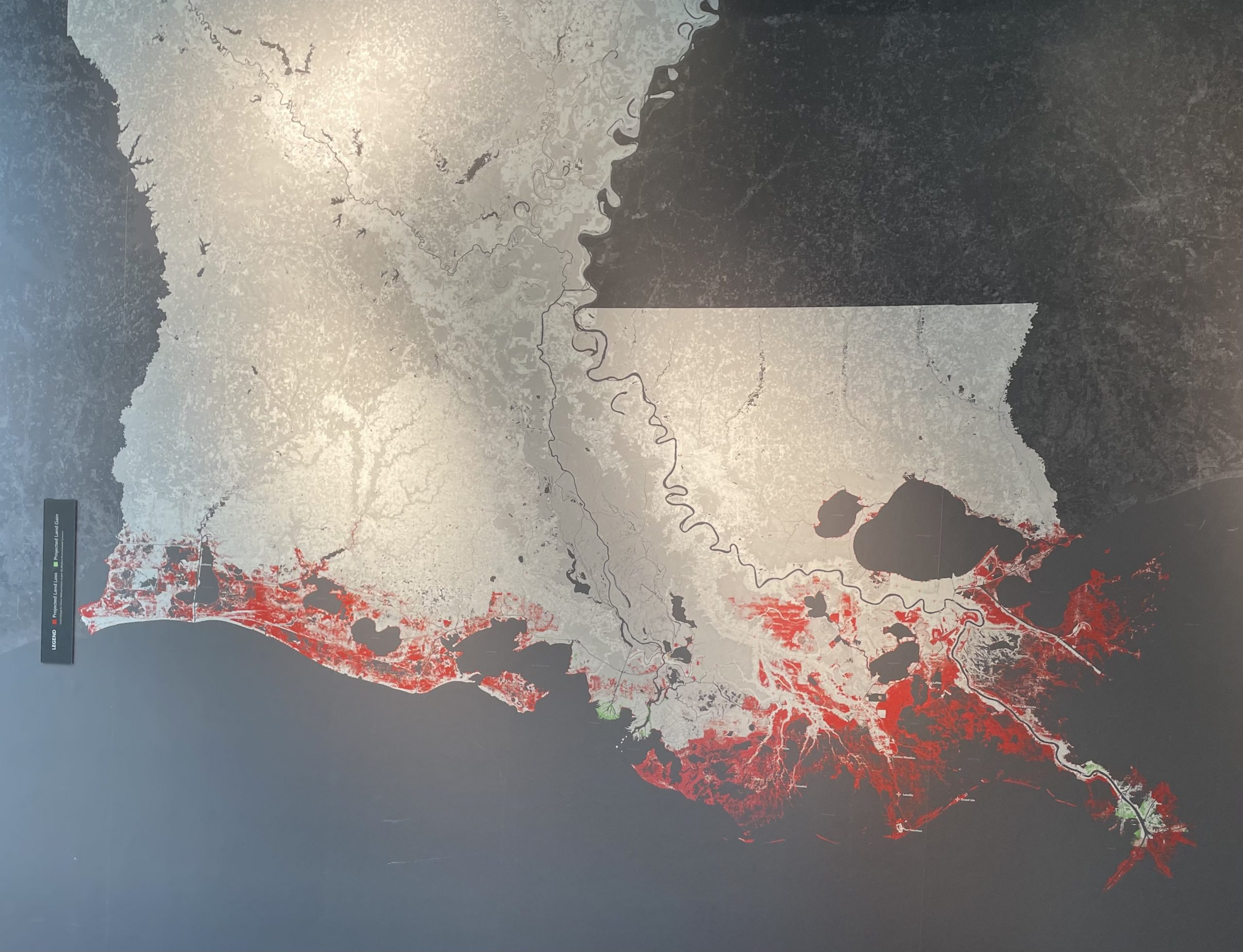 If Louisiana did nothing to try to restore the coast, it would lose the areas in red on this map to erosion over the next 50 years.