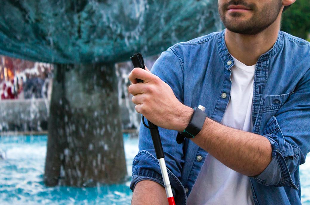 SunuBand_CloseUp on man's wrist with cane